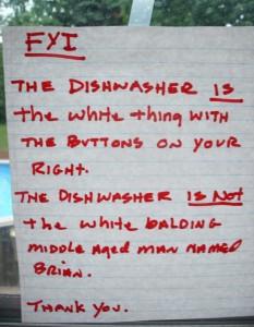 Dishwasher Note