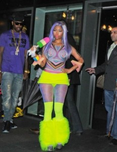 Nicki Minaj in Neon Boots