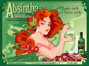Absinthe Poster - Montmartre Bois Donc Tu Verras Apres