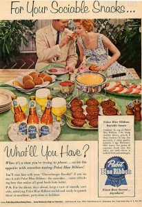 Pabst Blue Ribbon Beer Ads - Sociable Snacks