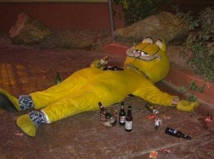 Drunk People Passed Out on Halloween - Typical Garfield
